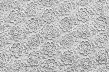 White lace with small flowers. No any trademark or restrict matter in this photo.