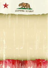 California poster scratched flag