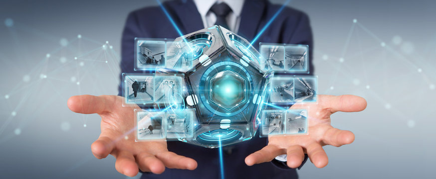 Businessman using futuristic drone security camera 3D rendering