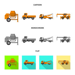Vector illustration of build and construction sign. Collection of build and machinery stock symbol for web.