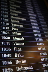 board airport departures schedule / departure of city airplanes flights font at the airport