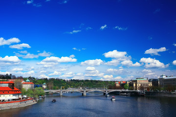 prague bridges river / panoramic tourist view czech republic capital. Landscape with bridges across the river of vltava in Prague