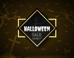 halloween sale 50% boder, Banner primium black gold