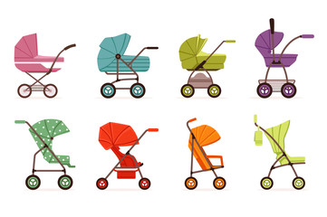 Baby stroller set, different types of kids transport, colorful vector Illustrations