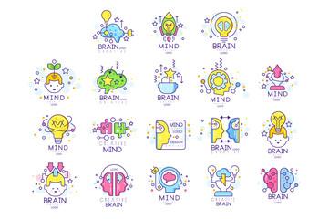 Mind energy original logo design set, creation and idea elements colorful vector Illustrations
