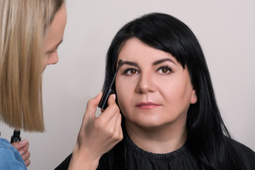 Eyebrow care. Beautiful mature woman at beauty salon. Makeup artist doing nude makeup for charming woman. Happy senior woman with professional make-up artist at studio.