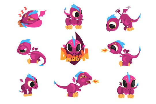 Collection of cartoon baby dragon for game design