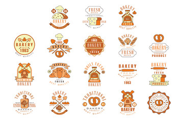 Bakery, fresh bread logo design, vintage bakery shop, company emblem vector Illustrations
