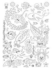 Coloring hand drawn page with cute sea animals vector