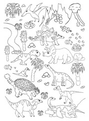 Coloring hand drawn page with cute vector dinosaurs