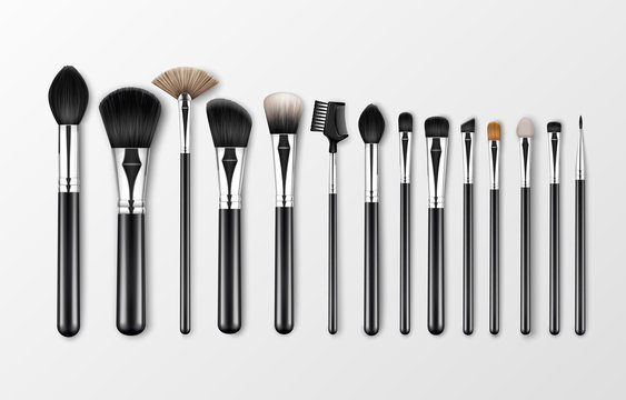 Vector Set of Black Clean Professional Makeup Concealer Powder Blush Eye Shadow Brow Brushes with Black Handles Isolated on White Background