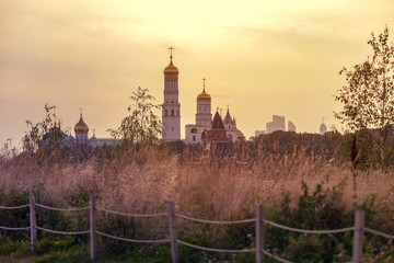 Amazing evening time in Moscow, Moscow Kremlin in Russia, Zariadye or Zaryadye Park