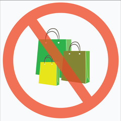 No shopping sign or Stop shopping with colorful paper bag background - Saving money of concept