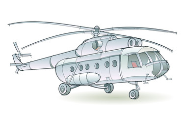 Fantasy illustration of passenger helicopter on white background. Model of multi-functional aircraft transport widespread using. Hand-drawn vector image.