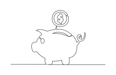 Piggy bank One line drawing