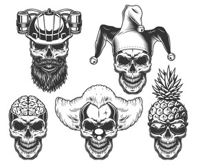 Set of skull in fun headwear