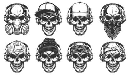 Set of hipster skulls