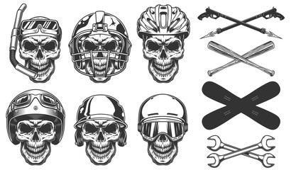 Set of skull in sport equipment
