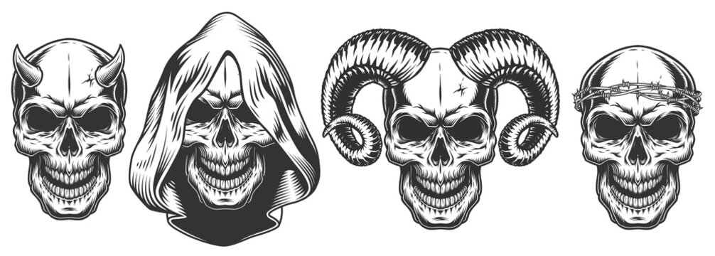 Set of demons skull with horns