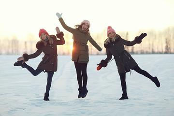Young women winter fun