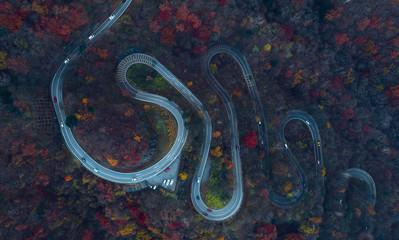 Beautiful curvy street on the Nikko mountain, Japan. Aerial view