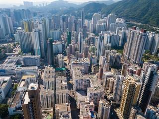 Aerial view of Hong Kong urban city