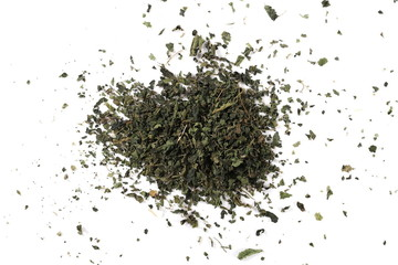 Dry, cut and sliced nettle pile, isolated on white background, top view