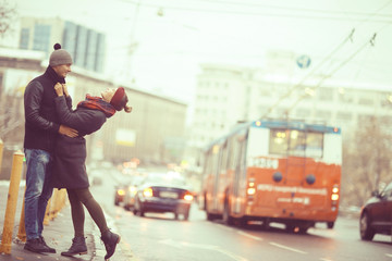 couple embracing on a walk Moscow