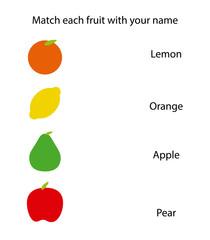 Fruit names in vector illustration