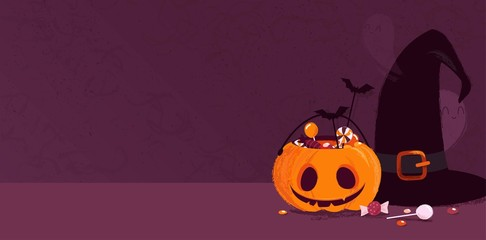 Happy halloween holiday background with pumpkin, witch hat, ghosts and candies. Vector illustration