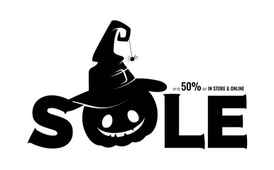 Black silhouette of halloween pumpkin in witch hat and text sale. Vector illustration