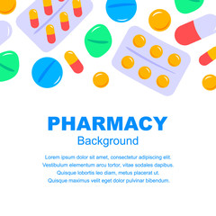 Pharmacy background in flat style. Vector illustration. Space for text