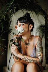 women tattoo and flowers