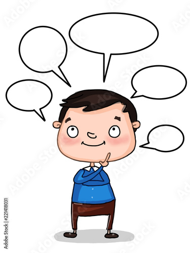 """cute cartoon student child thinking and speech bubbles ...