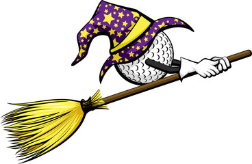 Golf ball with a starred wizard hat riding a witch's broom for Halloween.
