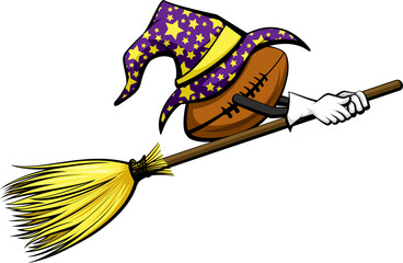 Football with a starred wizard hat riding a witch's broom for Halloween.