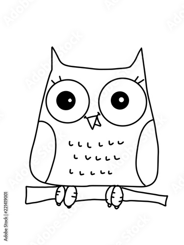 Cute Owl Characters Cartoon And Cap Line Drawing Stock Photo And