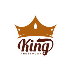 Crown and King logo design vector template, Crown emblem