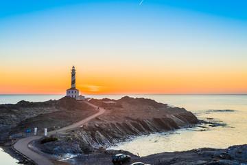 Favaritx Lighthouse in Minorca, Spain.
