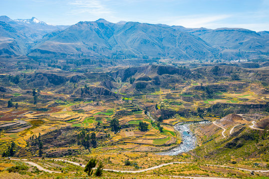 Colca Canyon, Peru, South America. One of the deepest canyons in the world.