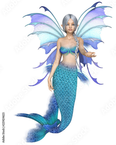 """Bright Blue Mermaid Fairy, Beckoning - fantasy illustration"" Stock photo and royalty-free images on Fotolia.com - Pic 221424623"