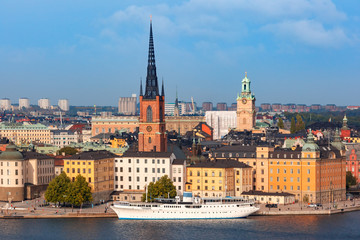 Scenic summer aerial view of Gamla Stan in the Old Town in Stockholm, capital of Sweden