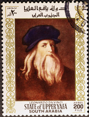 Leonardo da Vinci portrait on postage stamp of South Arabia