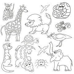 Set of vector animals. Isolated.