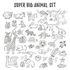 Big set of different vector animals. Dinosaur, lion, giraffe, elephant.