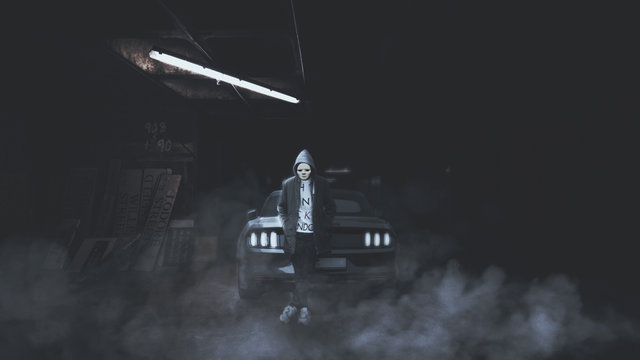 scary looking masked person in a parking lot with a car and smoke