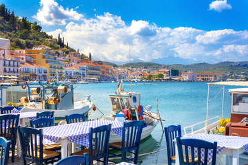 View of the picturesque coastal town of Gythio, Peloponnese, Greece. Wall mural
