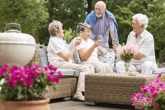 Two senior couples having a social gathering outside on a patio in the garden on summer afternoon. Making a toast.