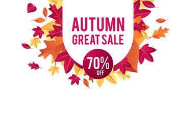 Autumn sale background vector with leaves. For shopping sale, poster, leaflet or web banner.