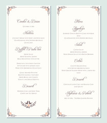 Wedding menu template. Vector illustration.